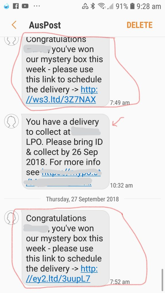 Scam Phone Texts